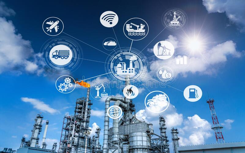 Industry oil and gas-Petrochemical refinery concept. royalty free stock photos