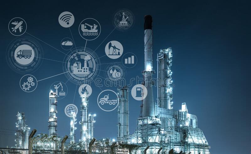 Industry oil and gas-Petrochemical refinery concept. royalty free stock images