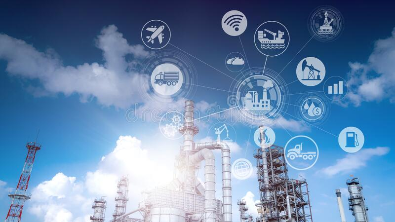 Double exposure of Industry oil and gas refinery concept. stock images