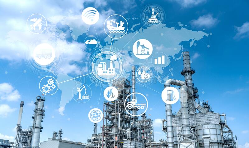 Double exposure of Industry oil and gas refinery concept. royalty free stock images