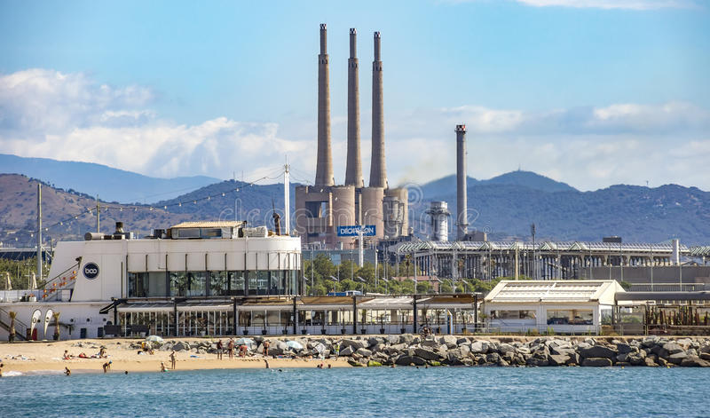 Industry plant in Barcelona. BARCELONA, SPAIN - JULY 13, 2016: Industry plant at Sant Adria del Besos. Barcelona, Spain royalty free stock photography