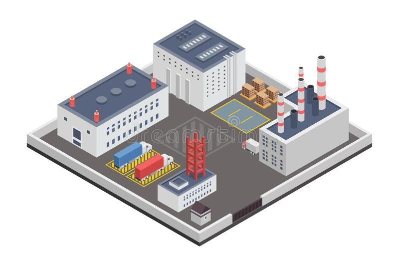 Industry Plants Factory Isometric Illustration. A vector illustration of Industry Plants Factory Isometric vector illustration