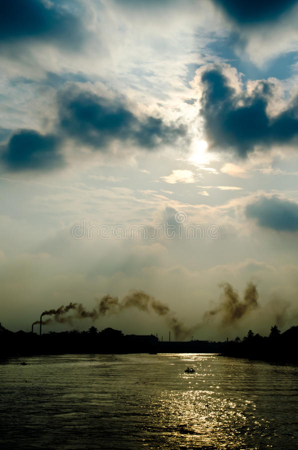 Industry polution in thailand. The polution from a factory make the global warming royalty free stock image