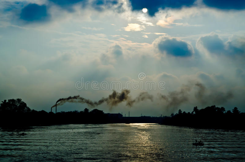 Industry polution in thailand. The polution from a factory make the global warming royalty free stock photos