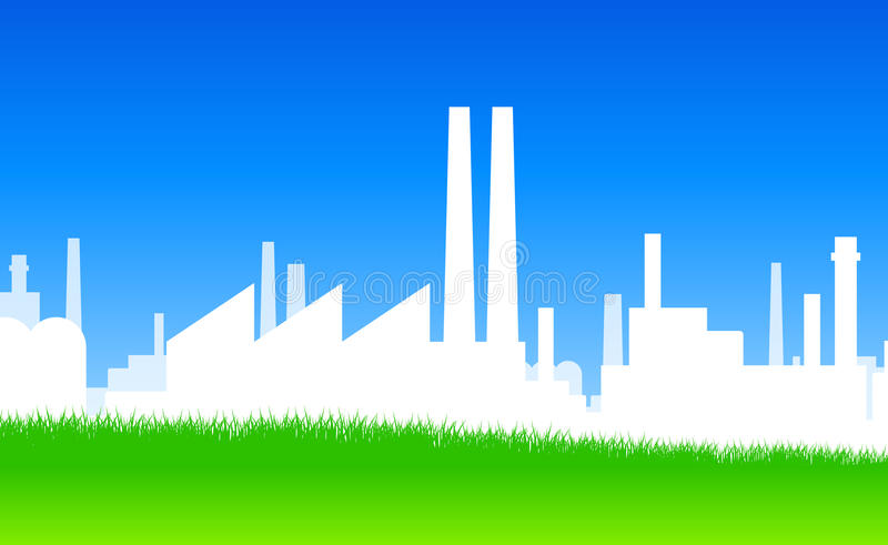Industry Silhouette. Ecology white industry on green meadow stock illustration