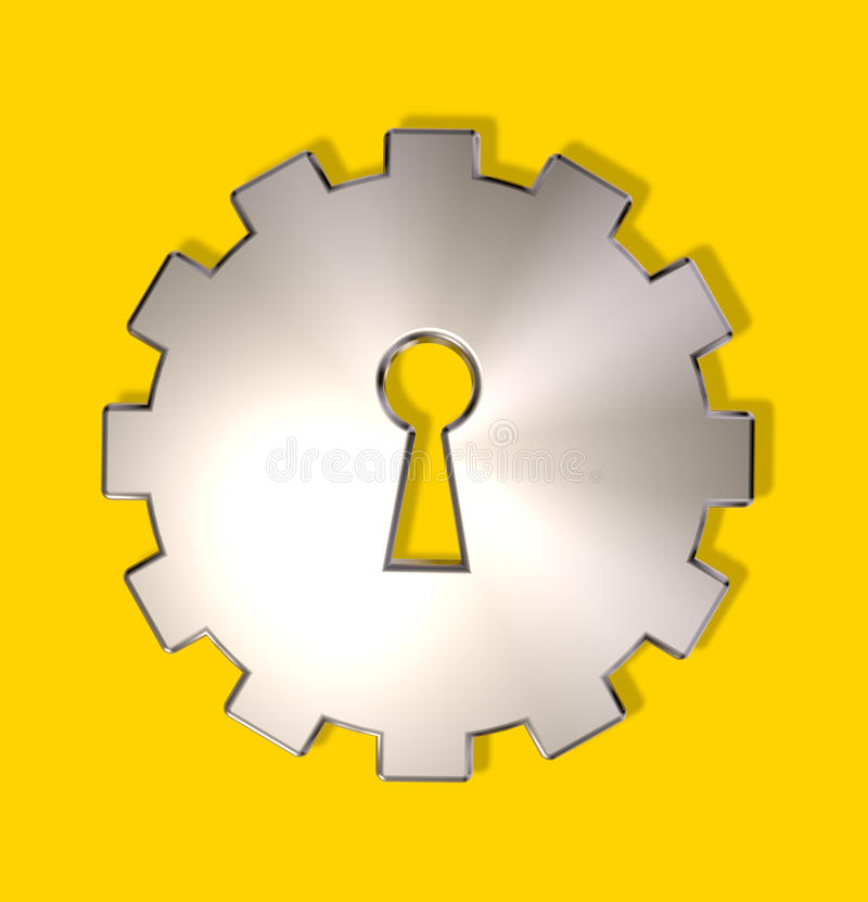 Industry spying. Gear wheel with key hole - 3d illustration royalty free illustration