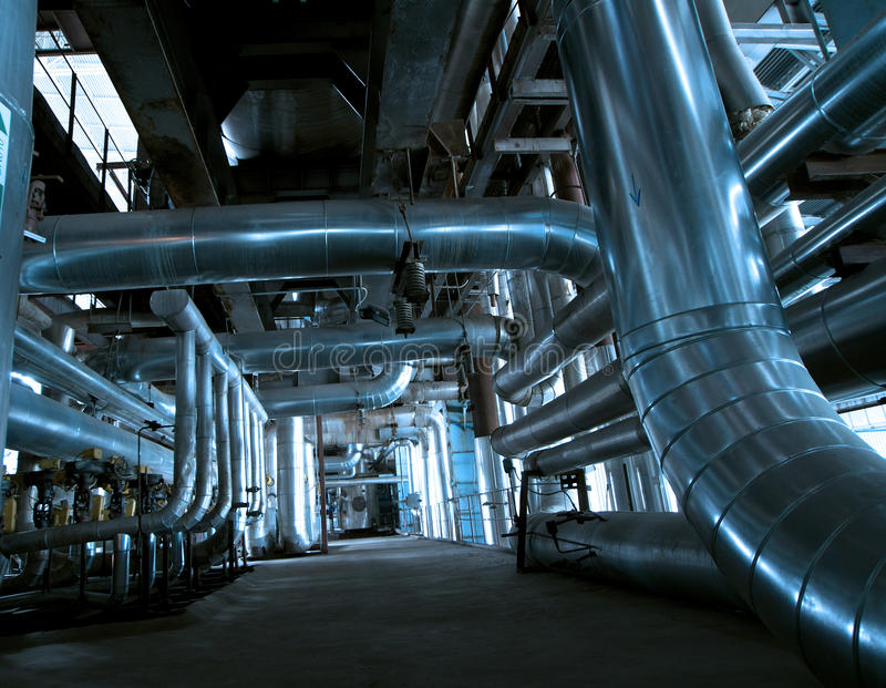 Industry Steel pipelines at factory royalty free stock image