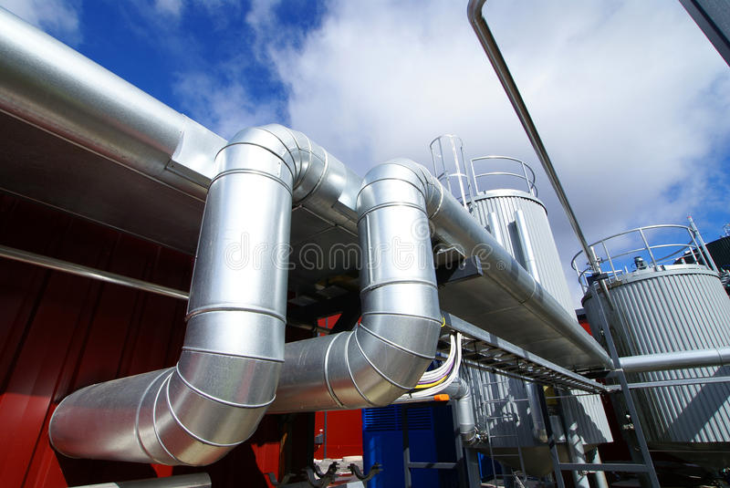 Industry Steel pipelines and tanks royalty free stock images