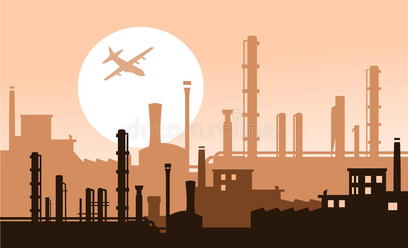 Download Industry sunset stock illustration. Image of chimneys - 27555639