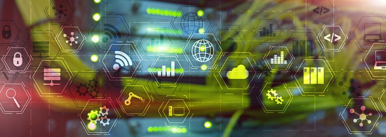 Industry technology concept. Yellow Mixed Media virtual screen. Manufacturing wireless computing future technology royalty free stock photo