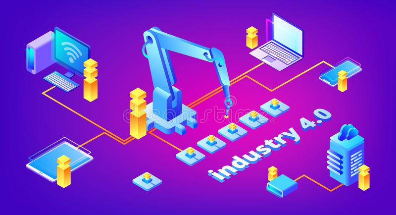 Industry 4.0 technology vector illustration. Of automation and data exchange system for manufacturing. Smart factory communication with computer network server vector illustration