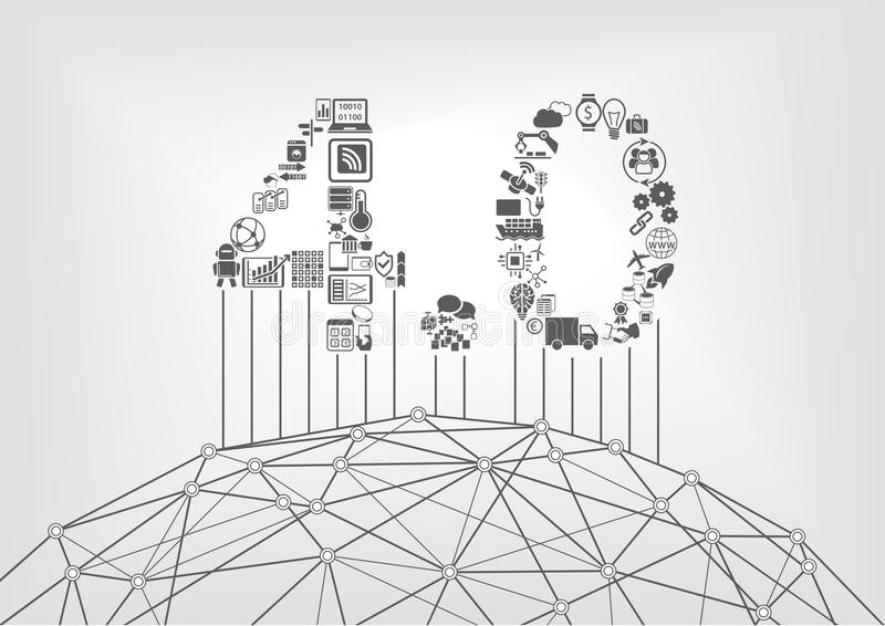 Industry 4.0 text as industrial internet of things concept stock illustration