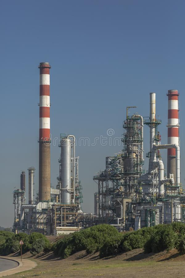 Detailed part view, industrial complex of oil refinery royalty free stock photography