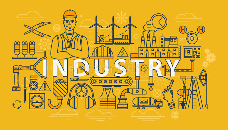 Industry thin line industrial banner stock illustration