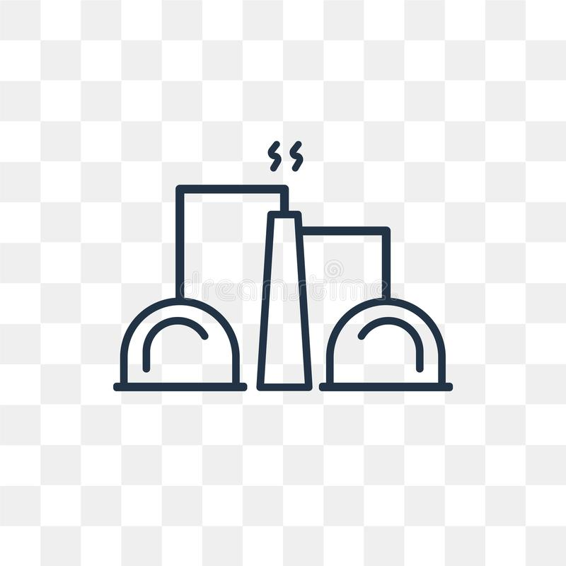 Industry vector icon on transparent background, linear royalty free illustration