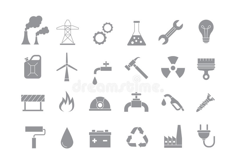 Industry & work gray icons set vector illustration