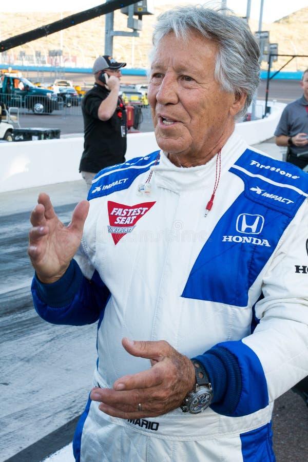 Indy bilRacing legend Mario Andretti fotografering för bildbyråer
