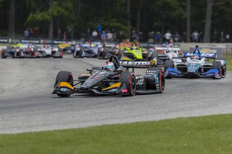 IndyCar:  June 23 REV Group Grand Prix. June 23, 2019 - Elkhart Lake, Wisconsin, USA: GRAHAM RAHAL 15 of the United States races through the turns during the stock images