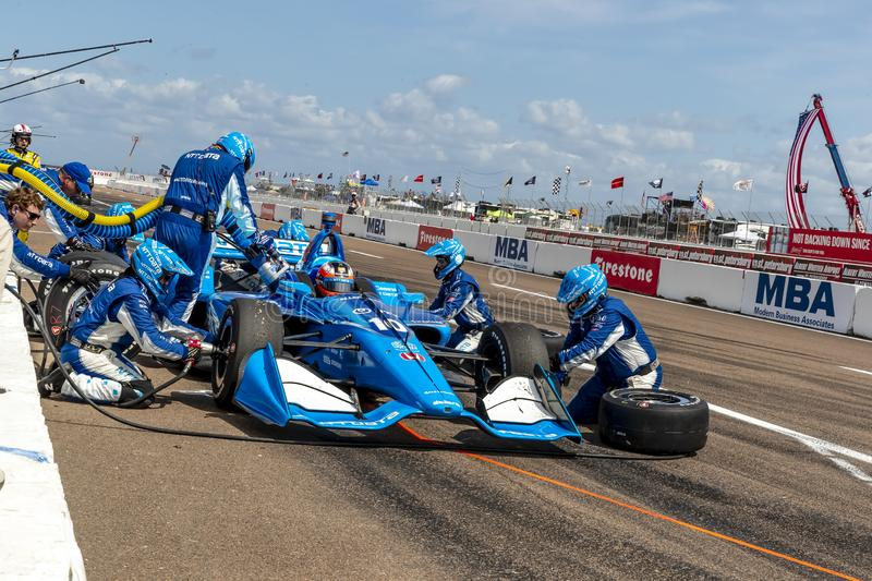 IndyCar: March 10 Firestone Grand Prix of St. Petersburg. March 10, 2019 - St. Petersburg, Florida, USA: FELIX ROSENQVIST (10) of Sweeden brings his car in for stock photo