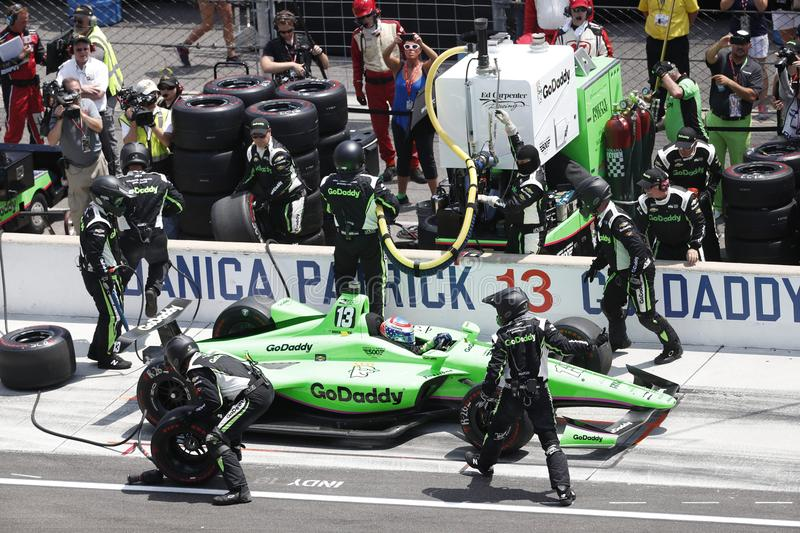 IndyCar: May 27 Indianapolis 500. May 27, 2018 - Indianapolis, Indiana, USA: DANICA PATRICK 13 of the United States comes down pit road for service during the royalty free stock photos