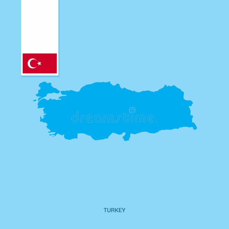 Indycza kraj mapa z flagą nad Błękitnym tłem ilustracja wektor