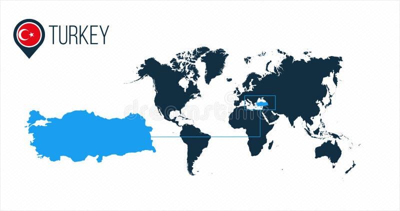 Indycza lokacja na światowej mapie dla infographics Wszystkie światowi kraje bez imion Indycza round flaga w mapa markierze lub s royalty ilustracja