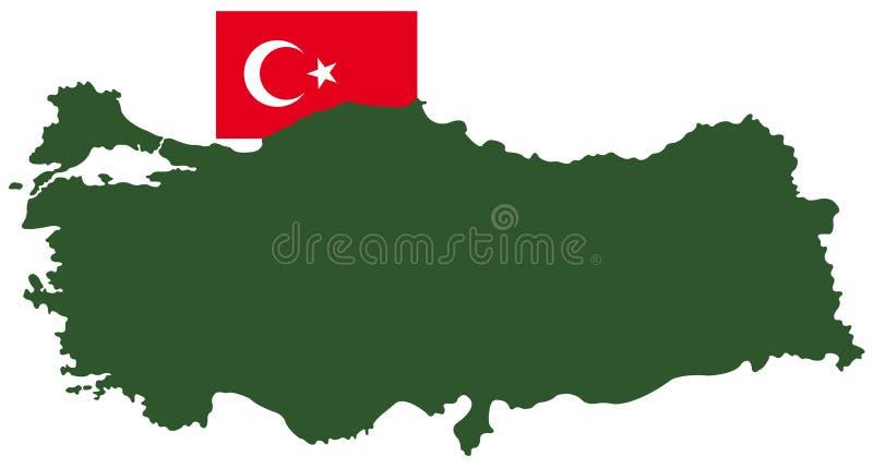 Indycza mapa i flaga - transkontynentalny kraj w Eurasia ilustracja wektor