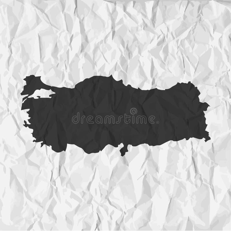 Indycza mapa w czerni na tle miął papier ilustracja wektor