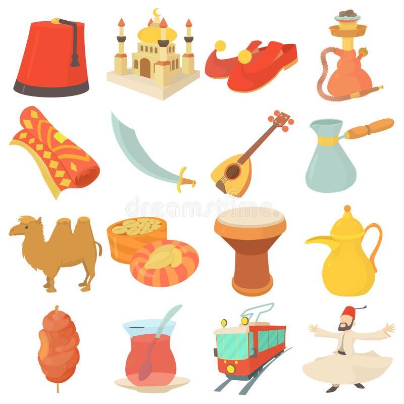 Indycze podróż symboli/lów ikony ustawiać, kreskówka styl ilustracji
