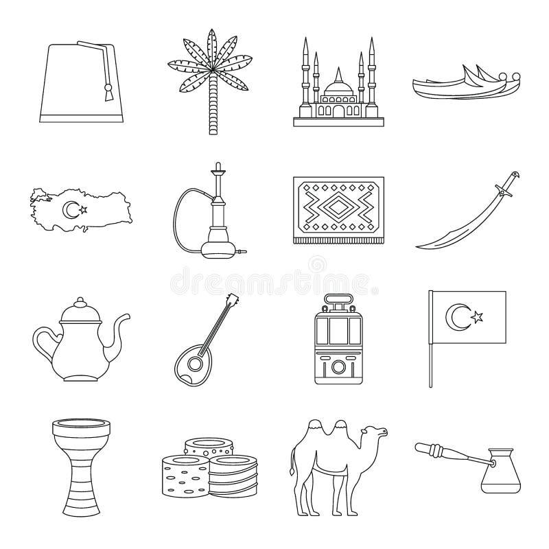 Indycze podróży ikony ustawiać, konturu styl ilustracja wektor