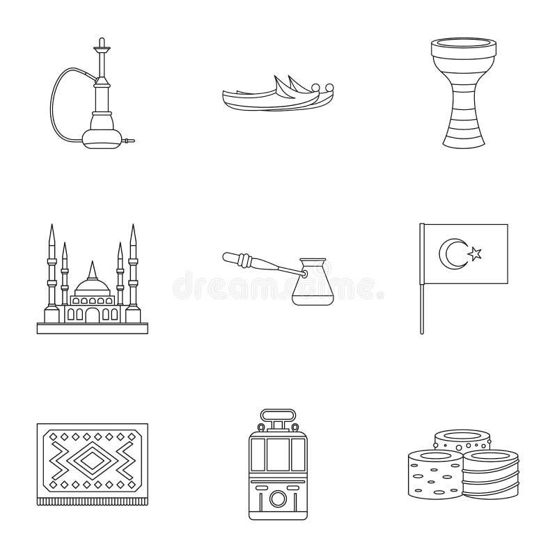 Indycze wyposażenie ikony ustawiać, konturu styl ilustracji