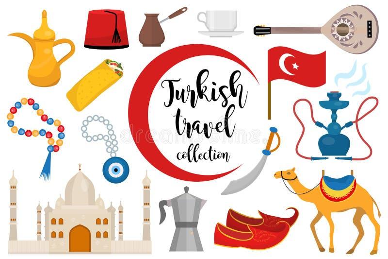Indyczej podróży ikony płaski set, kreskówka styl Turecka kolekcja projektów elementy z wielbłądem, Buzuk, meczet, nargile ilustracji