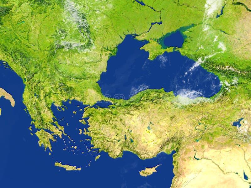 Indyczy i Czarny denny region na planety ziemi ilustracja wektor
