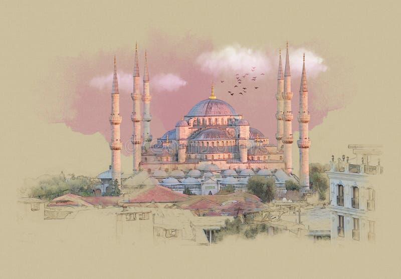 Indyczy Istanbuł, grafika na starym papierze royalty ilustracja