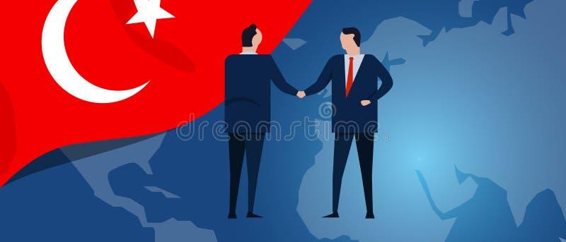 Indyczy międzynarodowy partnerstwo Dyplomaci negocjacja Biznesowego związku zgody uścisk dłoni Kraj mapa i flaga ilustracji