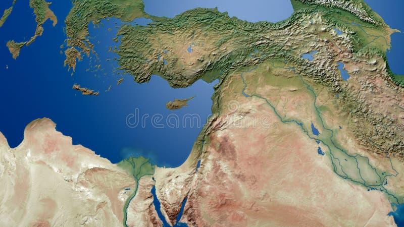 Indyczy Palestyna Izrael zatoki mapy zatoki perskiej mapy 3d Środkowy wschodni Arabski rendering ilustracji