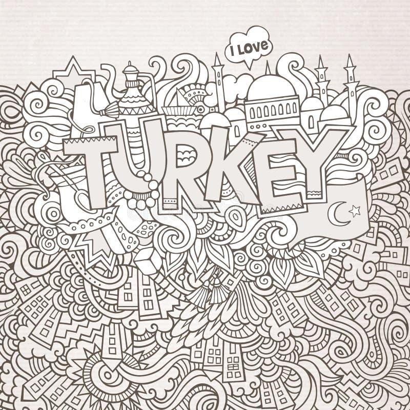 Indyczy ręki literowanie i doodles elementy ilustracja wektor