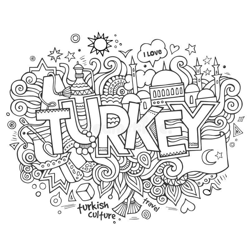 Indyczy ręki literowanie i doodles elementy royalty ilustracja