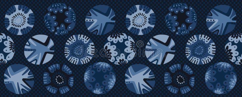 Indygowego błękita barwidła kwiatu polki kropki okręgu granicy wzór Bezszwowy wielostrzałowy tasiemkowy podstrzyżenie ilustracja wektor