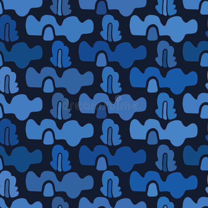 Indygowego błękita abstrakcjonistyczne organicznie fale cią za kształtach Wektoru deseniowy bezszwowy t?o R?ki matisse papierowy  ilustracji