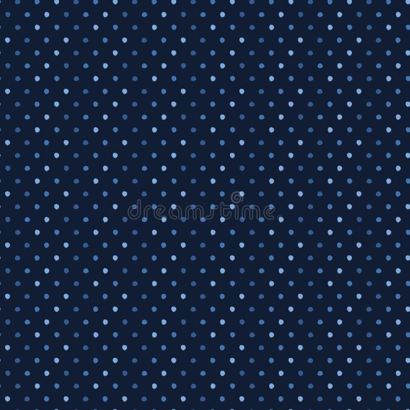 Indygowego błękita abstrakcjonistyczni organicznie rżnięci dotty okręgi Wektoru deseniowy bezszwowy t?o R?ka rysuj?cy textured st ilustracji