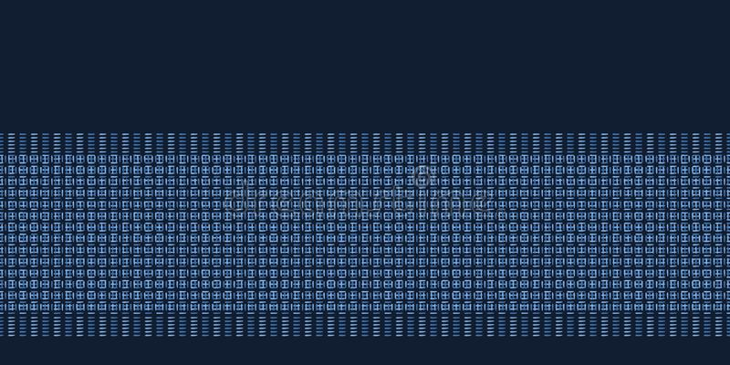 Indygowego błękita abstrakcjonistyczni organicznie wyplatający lampasy Wektor granicy wzoru bezszwowy tło Ręki rysować klasyk lin royalty ilustracja