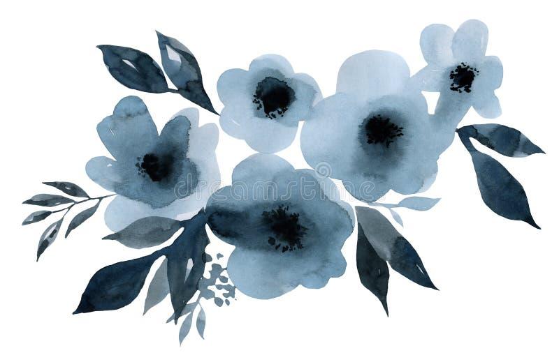 Indygowego błękita bukiet kwiatów i liści akwareli ilustracja ilustracji
