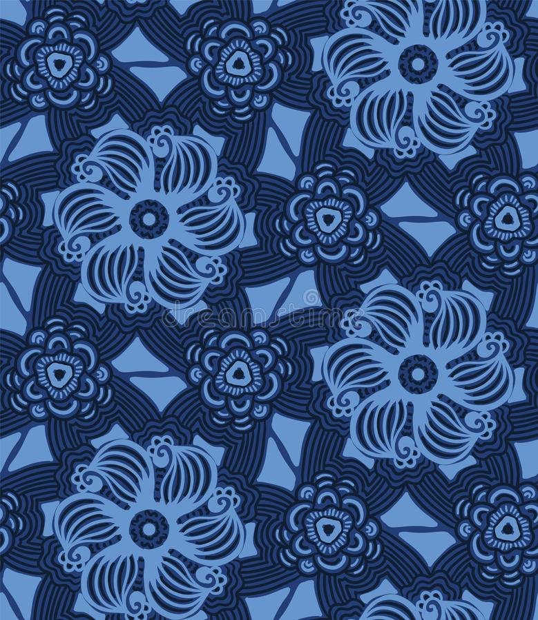 Indygowego błękita mozaiki kwiatu abstrakcjonistyczne płytki Wektoru deseniowy bezszwowy t?o R?ka rysuj?cy textured styl Etniczny ilustracja wektor