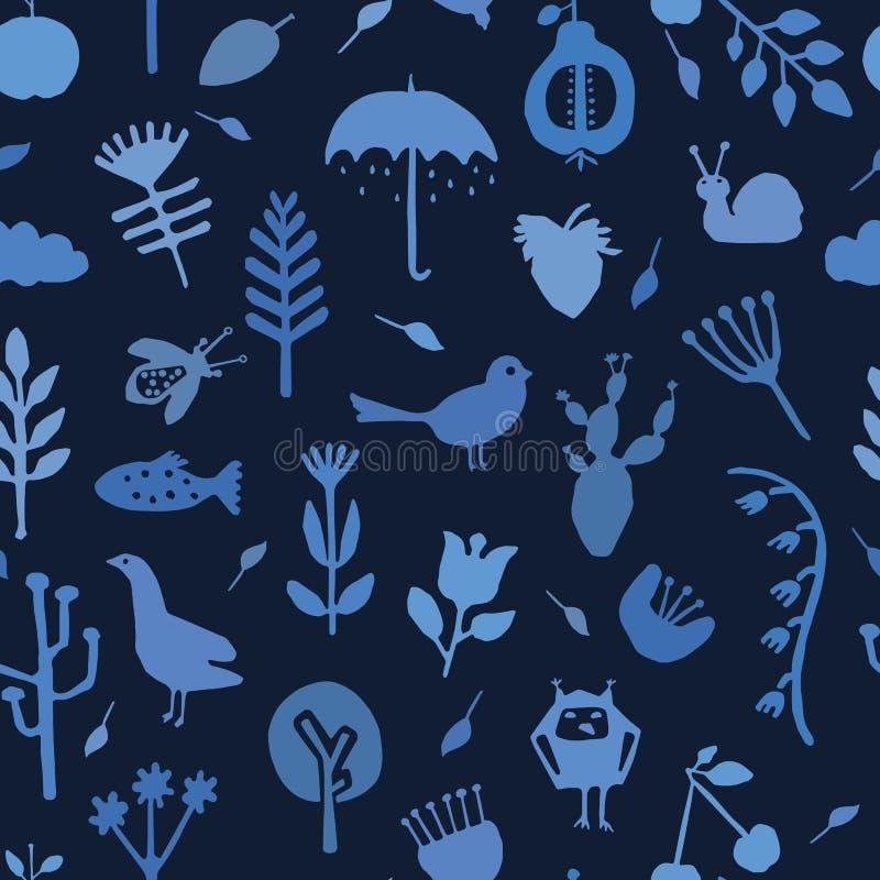 Indygowego błękita natury cięcie za kształtach Wektoru deseniowy bezszwowy t?o Ręk papierowi tnący zwierzęta Rośliny matisse styl ilustracji
