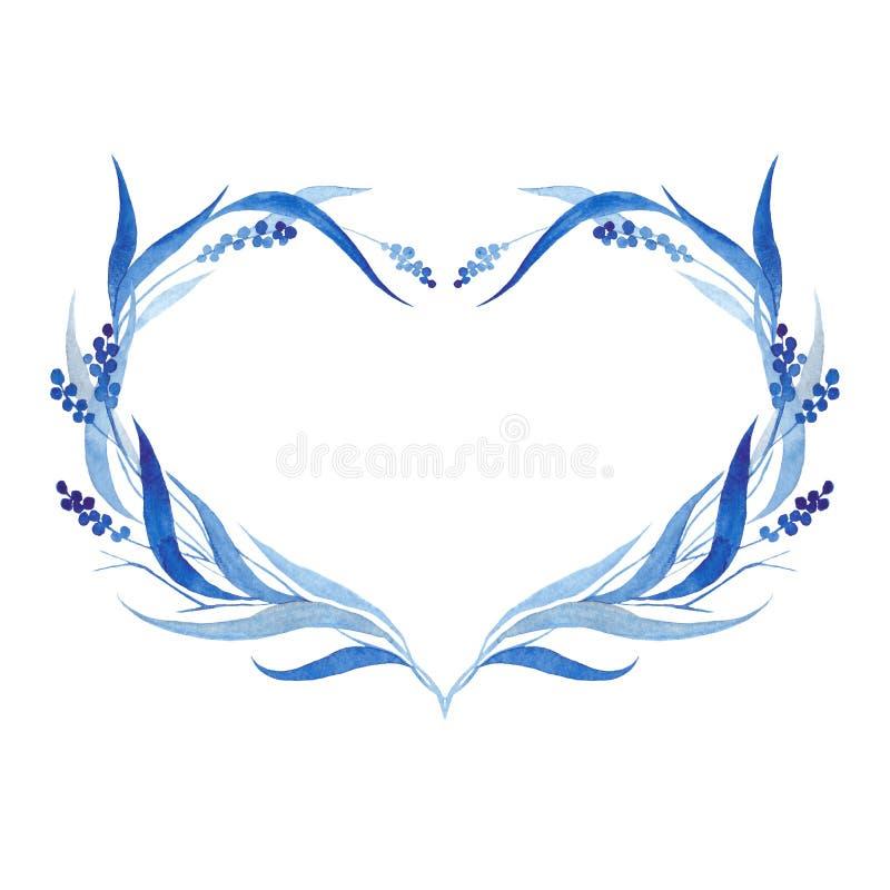 Indygowego błękita ręka rysujący wianek, wektorowa ilustracja zdjęcia stock