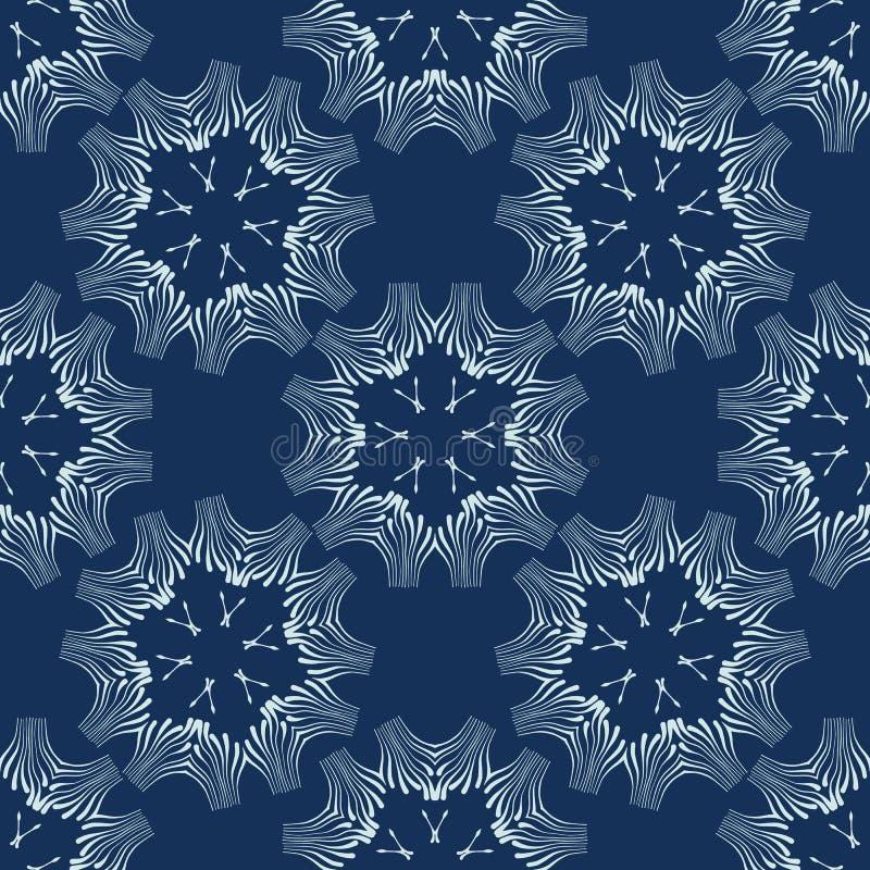 Indygowego błękita wektoru Kwiecisty Bezszwowy wzór Ręka Rysujący Japoński styl Shibori ilustracja wektor