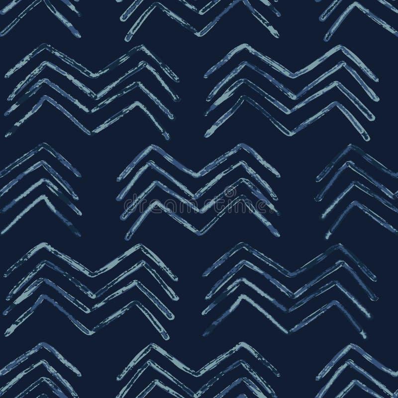 Indygowego krawata barwidła batika szewronu wektoru Bezszwowy wzór Patroszony Organicznie royalty ilustracja