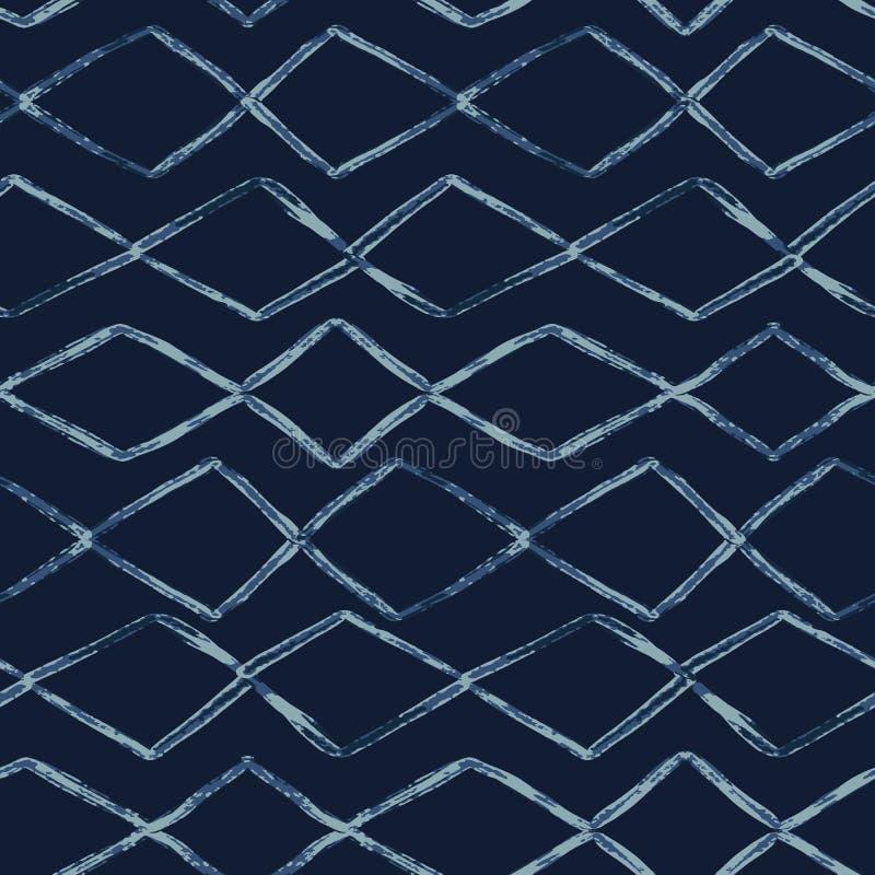 Indygowego krawata barwidła wektoru Bezszwowy wzór Ręka Rysujący diamentów lampasy ilustracji