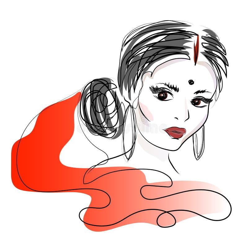indyjska kobieta Piękna atrakcyjna indyjska kobieta w czerwonym sari Piękno z brown oczami rysuje tła trawy kwiecistego wektora royalty ilustracja